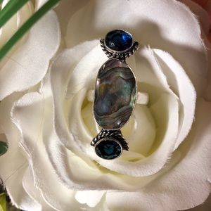 Sterling silver and abalone ring size 8